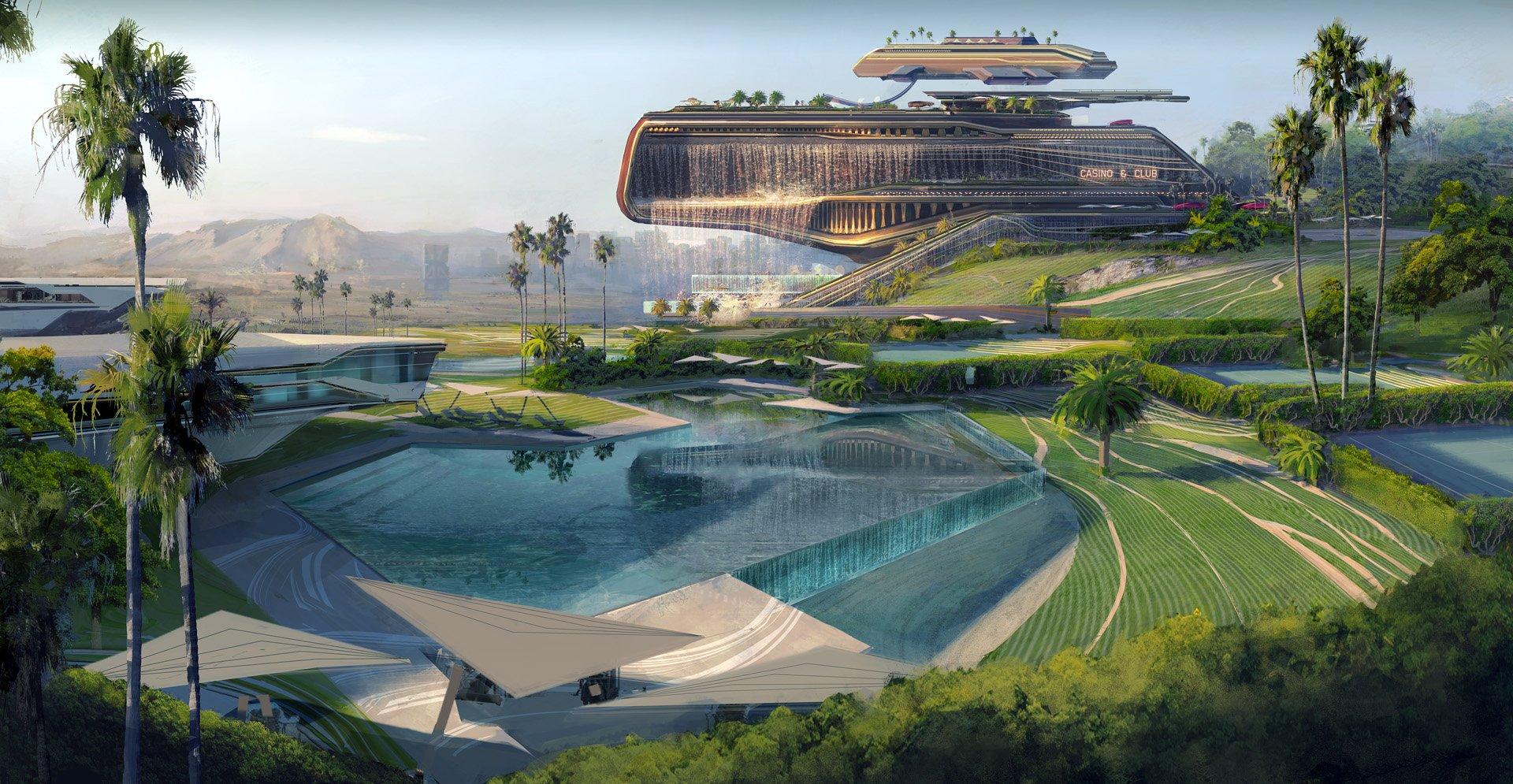 Konceptbilder från Cyberpunk 2077 visar överdådiga Westbrook