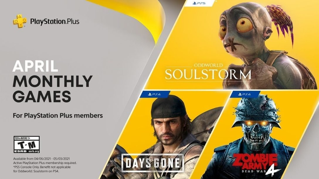 PS Plus-spel i april är Oddworld: Soulstorm, Days Gone och Zombie Army 4